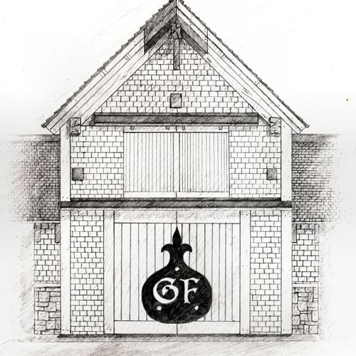 A sketch of the Little Compton Shop from the front...