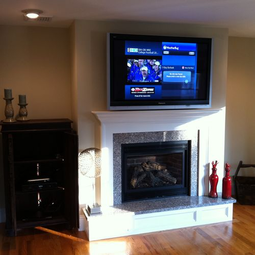 50inch LCD Panisonic, A/V in cabinet on left, (Stoneham, MA)