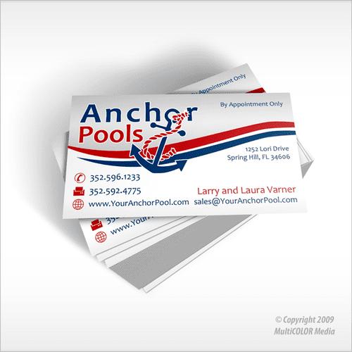 Anchor Pools Business Card Design - Copyright MultiCOLOR Media