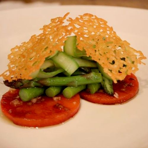 Marinated bell peppers, blanched asparagus with almond vinaigrette and parmesan crisps
