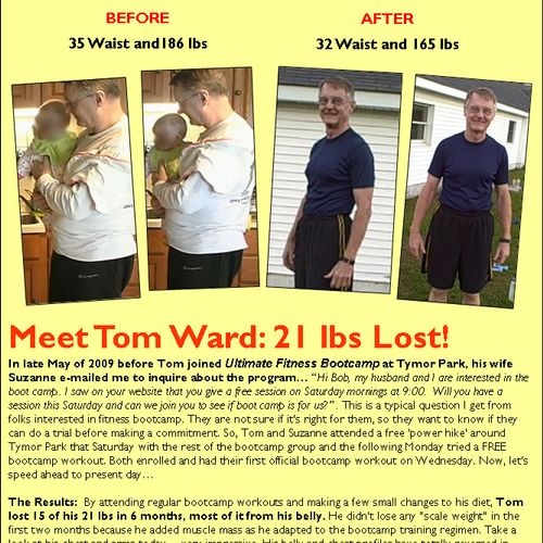 Tom Ward of Union Vale, NY lost 21 pounds of fat, mostly from his belly!