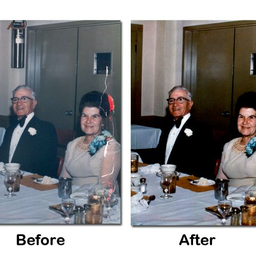 Photo Restoration, before and after. Notice the fire extinguisher in the before image?
