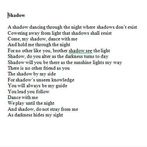 Shadow - 1 of several poems chosen to be read at IABJ Poetry Competition in 2001