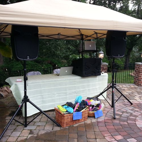 A basic outdoor setup for music only (we can provide a tent if needed)