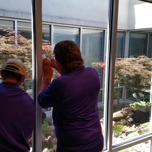 Window film cuts cooling costs and helps production in office settings.