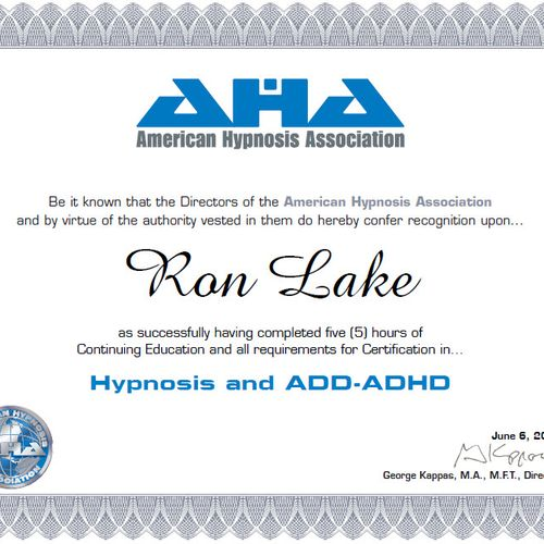 Certification in Hypnosis and ADD/ADHD