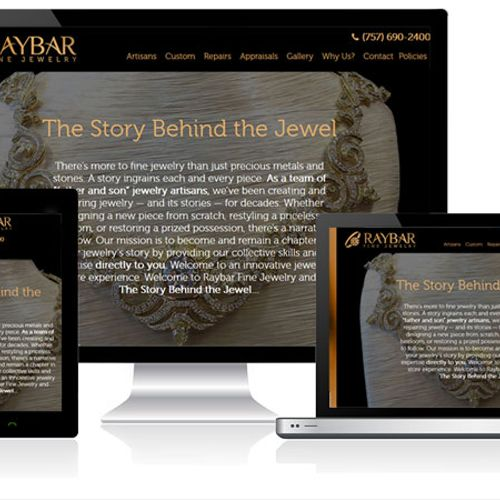 A custom website design, development and SEO project for Raybar Fine Jewelry store in Virginia Beach.