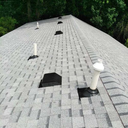 Vents/Pipe flashings on the roof can be a major pain when not installed properly! We ensure flashings/fittings are sealed tight!