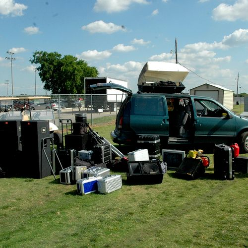 """Tons of """"Toys"""" for small events and weddings, all the way up to small concert backline sound. (Setting Up for a """"Relay For Life"""" event)"""