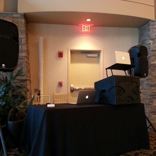 Our standard setup for basic music/emceeing events.