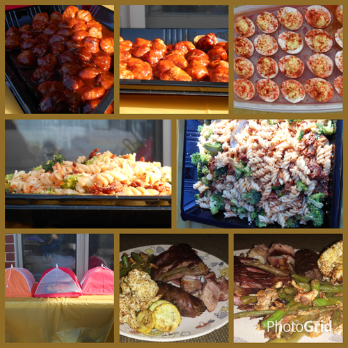 Catered event with Bacon Deviled eggs, pasta salad, with grilled ribs, and roasted cauliflower and string beans with potatoes