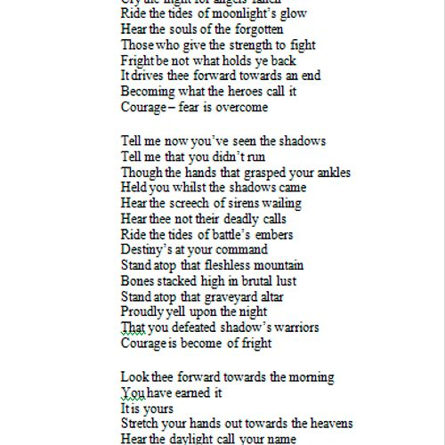 Cry The Night - Original Poem