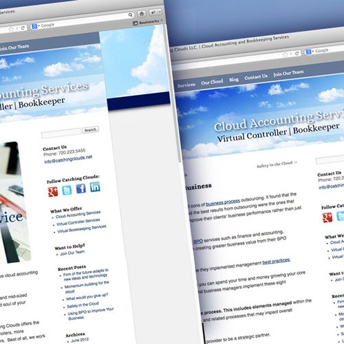 Custom WordPress site design for an online accounting firm. http://www.catchingclouds.net