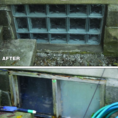Glass Block Windows - before and after