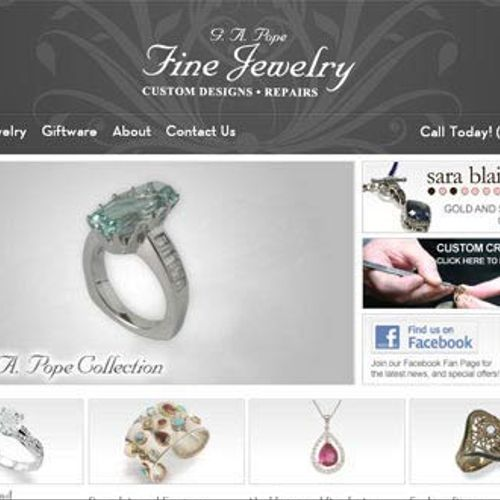 G.A. Pope Fine Jewelry was designed, created and developed by Toner Design, placed in a content management system for easier maintenance by the customer.