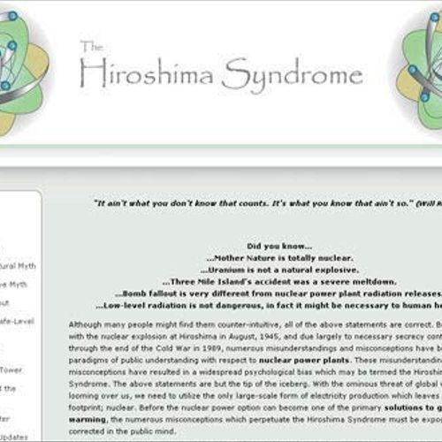 We designed HiroshimaSyndrome.com to the owner's specifications, placing it in a content management system so he can continue to add articles and insights as he requires. The site received a great deal of traffic at the time of the Fukushima accident and was re-optimized specifically for that particular incident and searches pertaining to it. The easy management allows the owner to continue to add to the site.