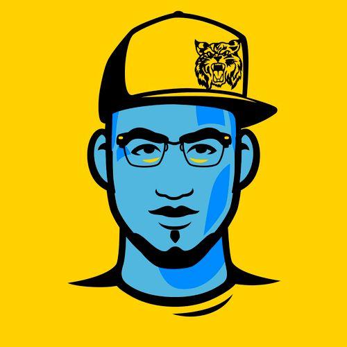 Yellow & Blue DJz Profile Pic w/ Wildcat Hat n' Glasses.