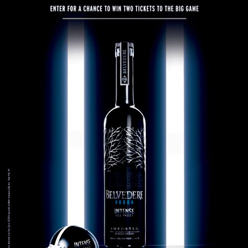 Point of sale sweepstakes case card created for Belvedere Vodka
