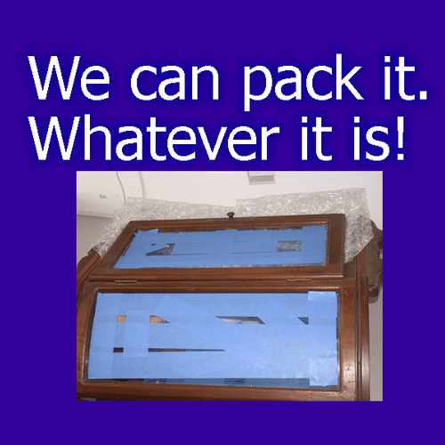 We sell packing supplies such as boxes. Or we can pack it for you.  We have packed thousands of items and can pack your treasure to make sure it arrives intact. We ship with all the major carriers.