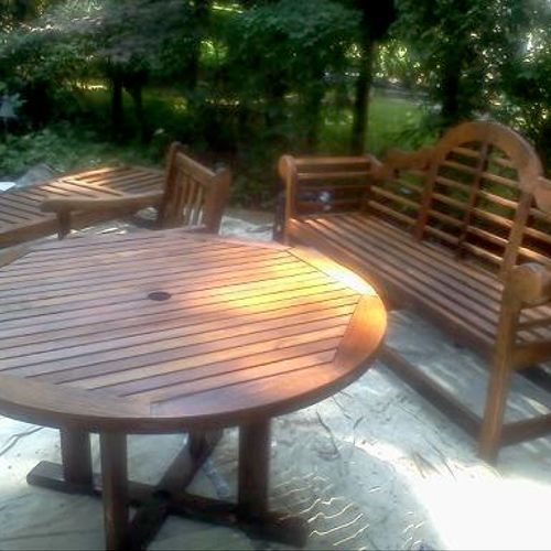 Stained & polyurethaned exterior furniture in Manhasset, Long Island.