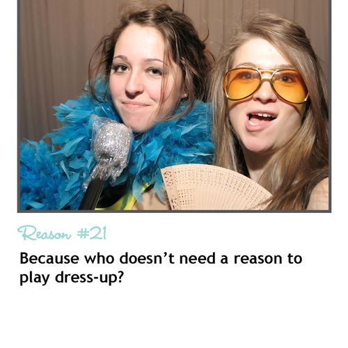 Photo booth rental REASON #21 - Because who doesn't need an excuse to play dress-up?