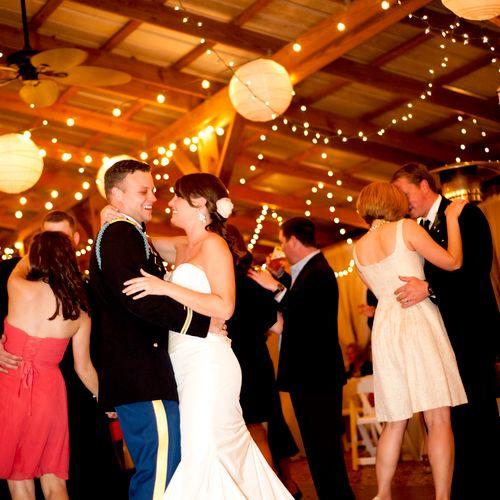 Happy couple dancing the night away in Orlando, FL