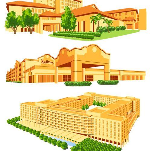 Hotel illustrations for Expedia.com travel website.