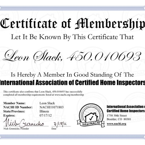 Member of largest home inspection association in the country
