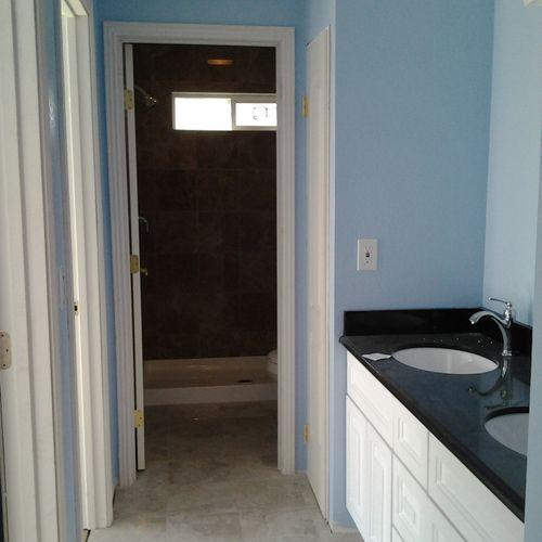 Yin (after) Bathroom Granite shower, floors & Counter top