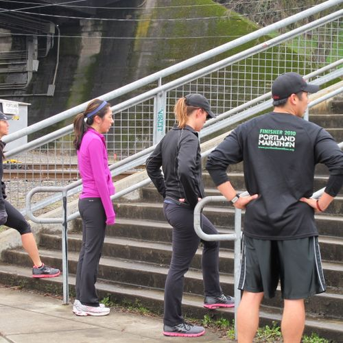 Training the ladies group on stairs.