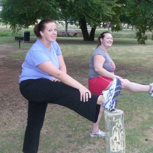Stretching before hill training at Bear Creek Park, Keller, TX