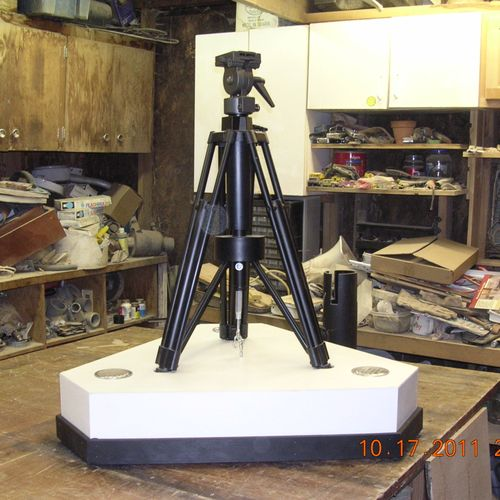 Camera tripod stand for traveling news exhibit for NRG Exhibitors