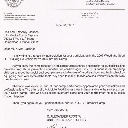 Letter of Rec. US Dept of Justice