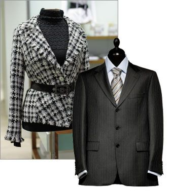 Dressing for a formal business environment.