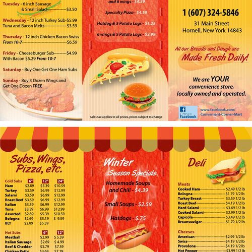 Take Out Menu for a Convenience Store