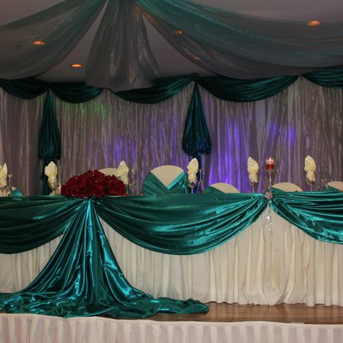 High table and draping