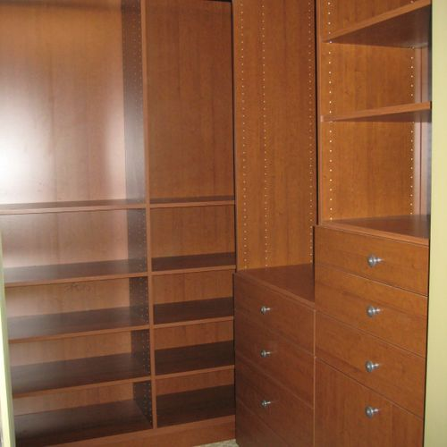 Drawers in the closet can mean no clothes bureau taking up space the bedroom.