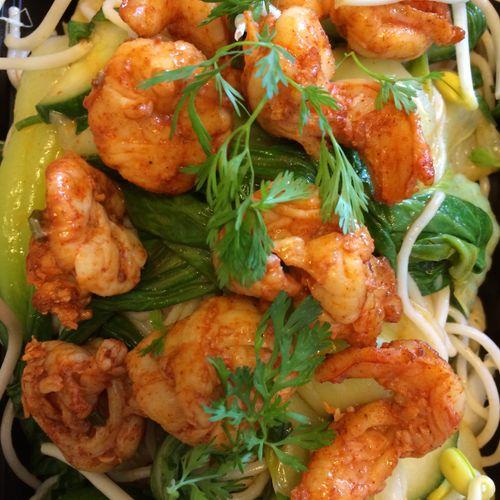 Gluten Free Korean Rice Noodle Salad with Shrimp