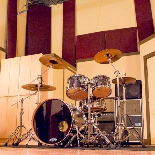 Studio A Live Room - 18' Ceilings, pictured with our in house DW Collector's Drum Kit