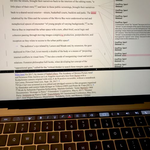 Editing a paper for a journal.