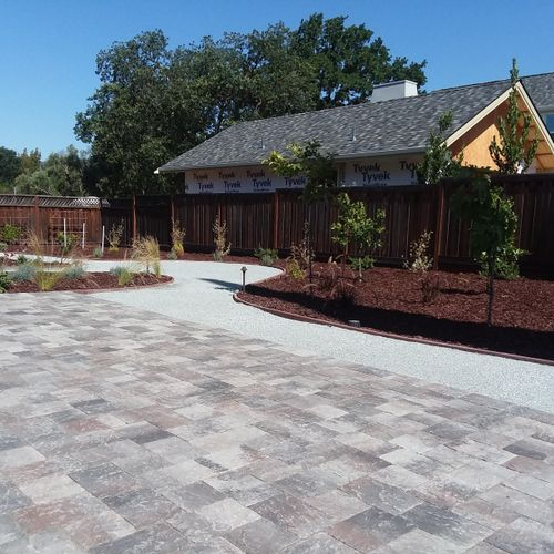 Complete remodel with pavers, outdoor kitchen, lawn, plants - sprinklers