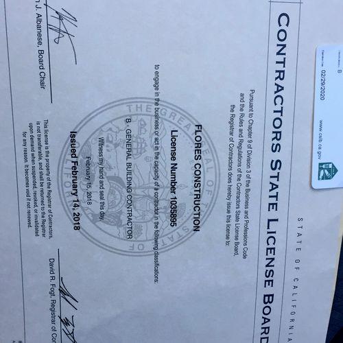 California State License Board License.