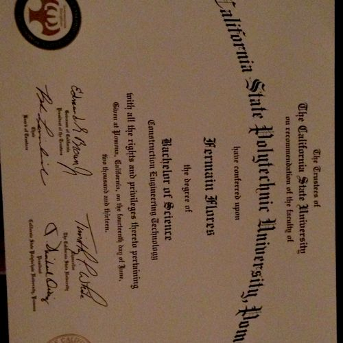 Engineering Degree from California State Polytechnic University, Pomona.