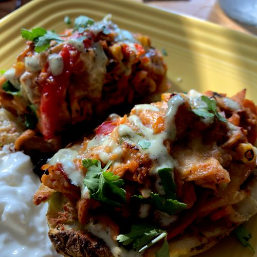 BBQ chicken stuffed sweet potatoes - don't give up flavor for health or fitness!