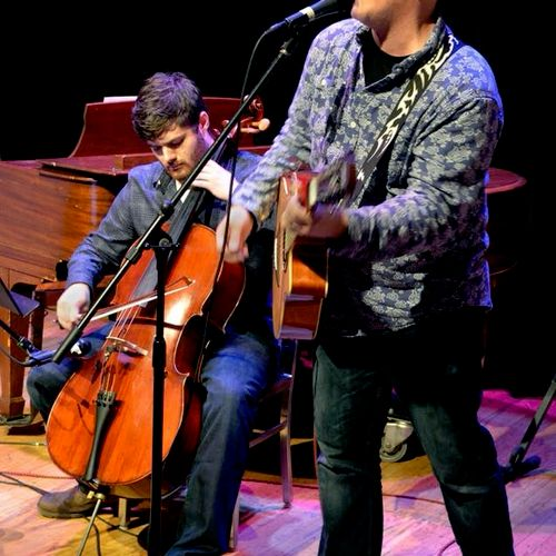 Performing at the Cell Theater NYC with band mate Patrick Bamburak