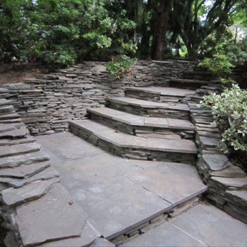 Natural Stone Walkway and Gardens