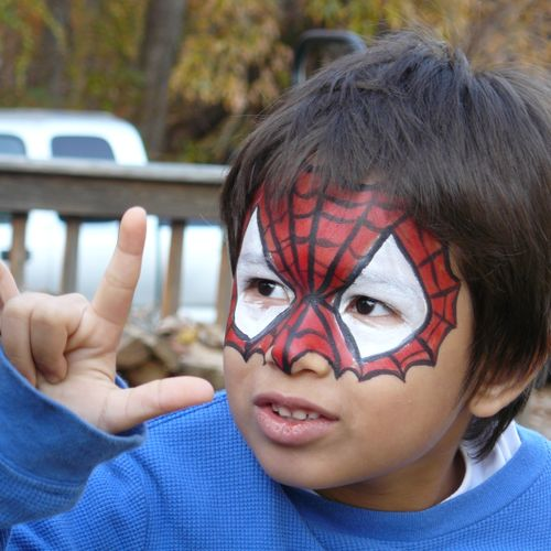 Big Grins Face Painting & Body Art Maryland DC party and events - Spidey mask