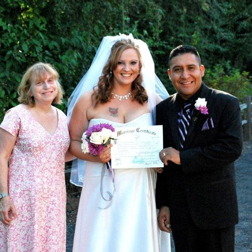 Ana Villarqui, bi-lingual officiant with Your Personal Ceremony, with happily married Mexican-American couple