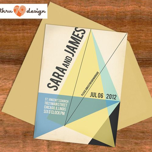 bauhaus style save the date or invitation