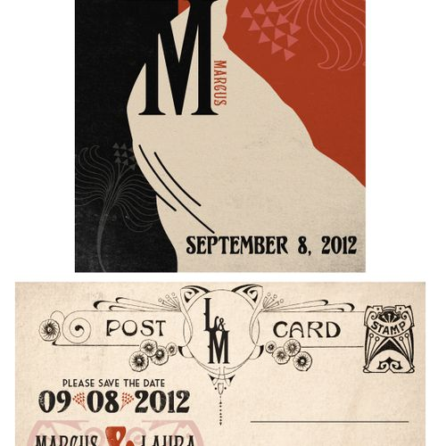 art deco style save the date or invitation